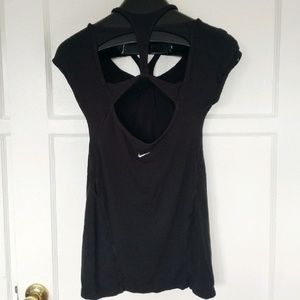 Nike Athletic Black Athleisure Stretch Top GUC